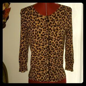 While House Black Market M Cardigan Cheetah Print